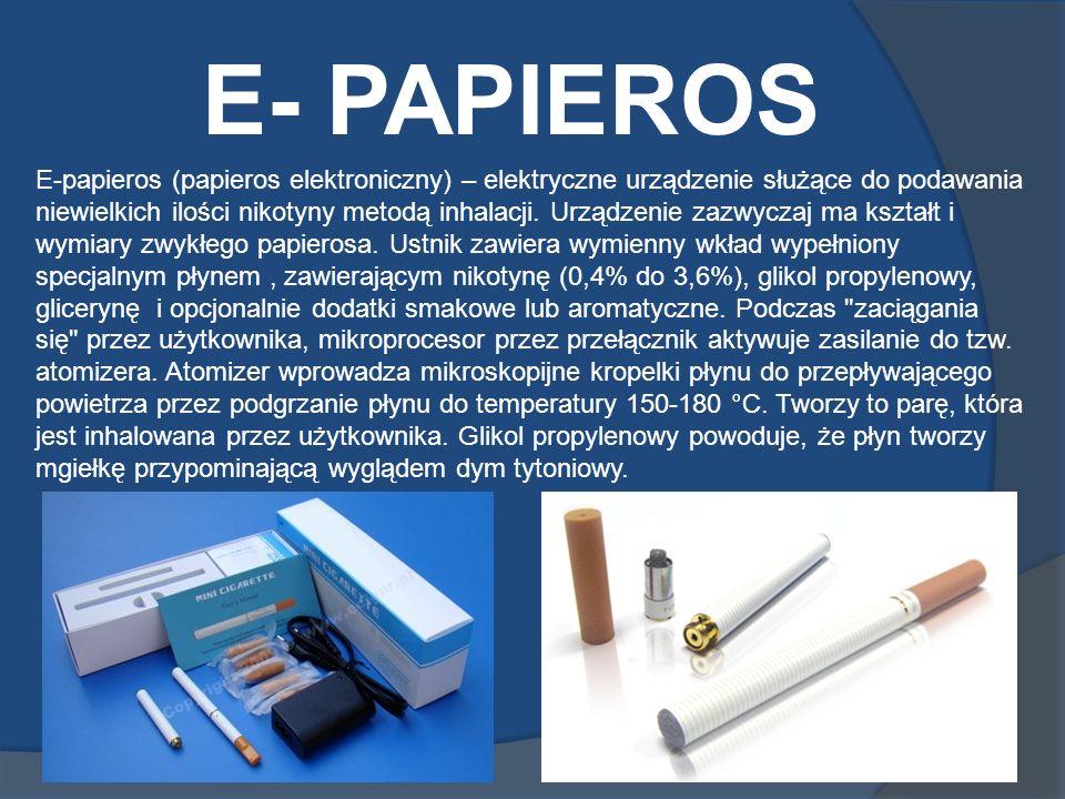 E- PAPIEROS E-papieros (papieros elektroniczny) – elektryczne urządzenie służące do podawania niewielkich ilości nikotyny metodą inhalacji. Urządzenie
