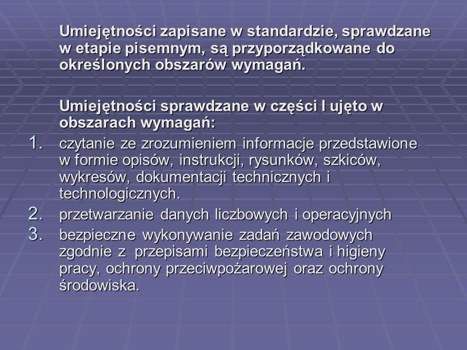 Umiejętności zapisane w standardzie, sprawdzane w etapie pisemnym, są przyporządkowane do określonych obszarów wymagań.