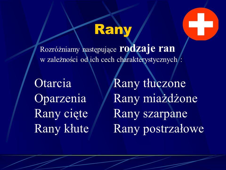 Rany Rozróżniamy następujące rodzaje ran w zależności od ich cech charakterystycznych : Otarcia Oparzenia Rany cięte Rany kłute Rany tłuczone Rany mia