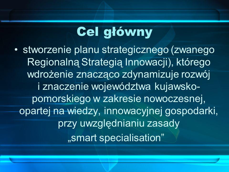 Cel główny stworzenie planu strategicznego (zwanego Regionalną Strategią Innowacji), którego wdrożenie znacząco zdynamizuje rozwój i znaczenie wojewód