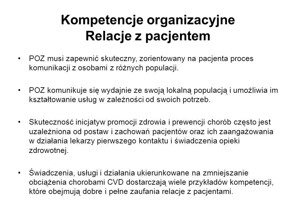 Kompetencje organizacyjne Relacje z pacjentem POZ musi zapewnić skuteczny, zorientowany na pacjenta proces komunikacji z osobami z różnych populacji.