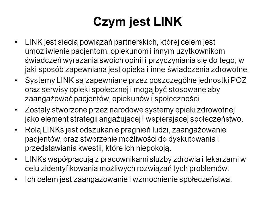Czym jest LINK LINK jest siecią powiązań partnerskich, której celem jest umożliwienie pacjentom, opiekunom i innym użytkownikom świadczeń wyrażania sw