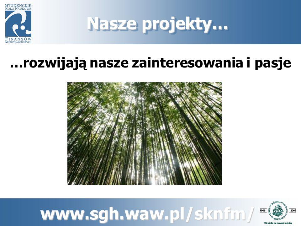www.sgh.waw.pl/sknfm/ Projekty długofalowe… 1.Gabinet Cieni RPP 2.Prognozy Gospodarki Polskiej 3.Monitoring Makroekonomiczny 4.Reforma dla Polski 5.Studencki Przegląd Ekonomiczno- Społeczny