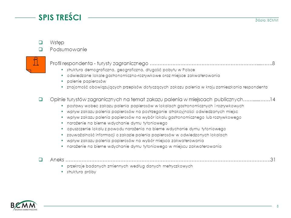 Źródło: BCMM 8 SPIS TREŚCI Wstęp Podsumowanie Profil respondenta - turysty zagranicznego …………………………………………………………....…….8 struktura demograficzna, geogr