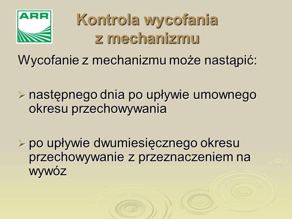 Wycofanie z mechanizmu może nastąpić: następnego dnia po upływie umownego okresu przechowywania następnego dnia po upływie umownego okresu przechowywa