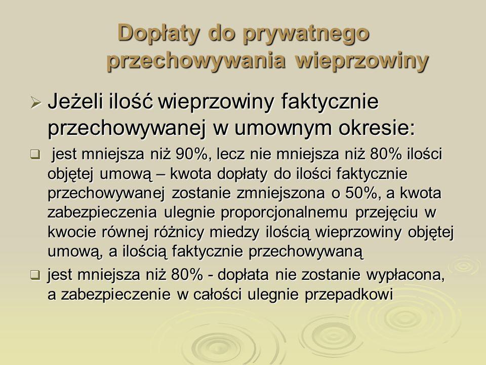Dopłaty do prywatnego przechowywania wieprzowiny Jeżeli ilość wieprzowiny faktycznie przechowywanej w umownym okresie: Jeżeli ilość wieprzowiny faktyc