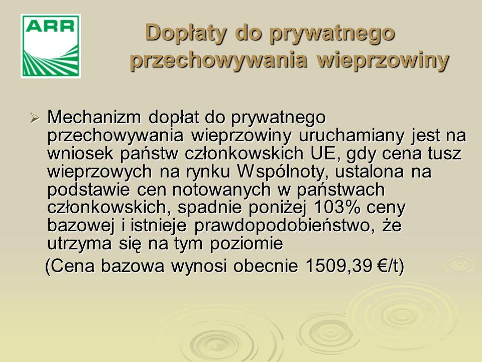 Dopłaty do prywatnego przechowywania wieprzowiny Mechanizm dopłat do prywatnego przechowywania wieprzowiny uruchamiany jest na wniosek państw członkow