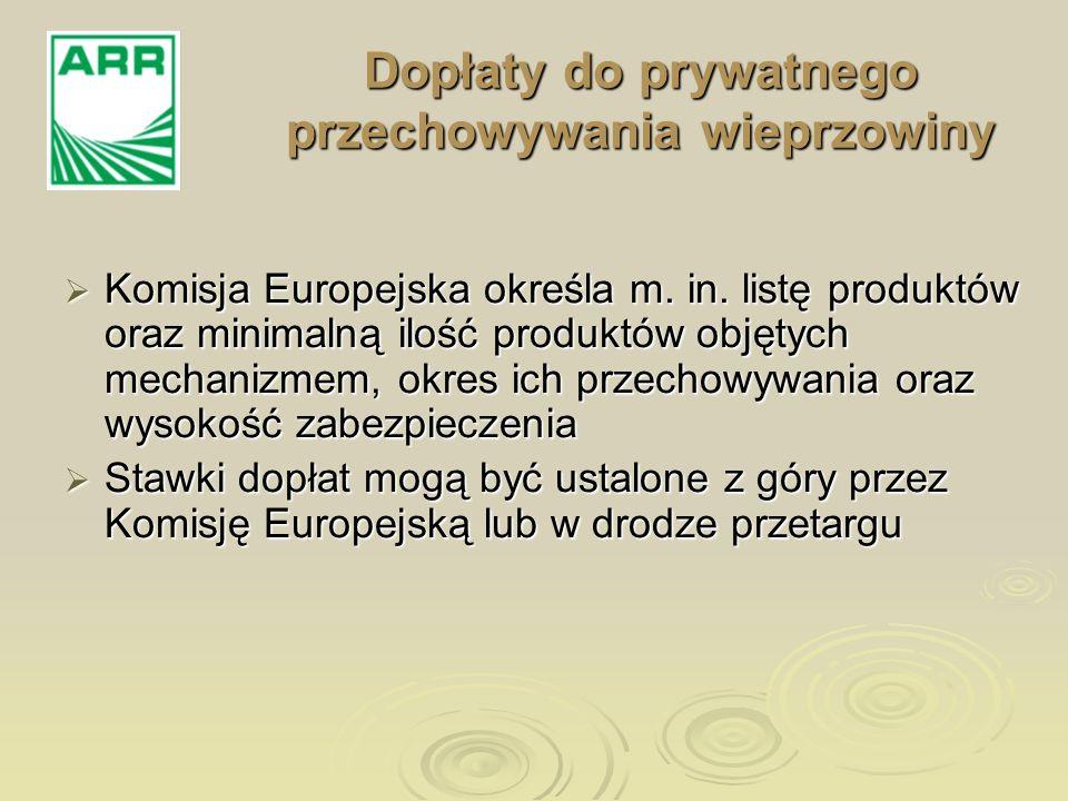 Dopłaty do prywatnego przechowywania wieprzowiny Złożenie oferty/ wniosku + zabezpieczenie Zawarcie umów Ustalenie dopłaty Przedsiębiorcy Komisja Europejska Agencja Rynku Rolnego
