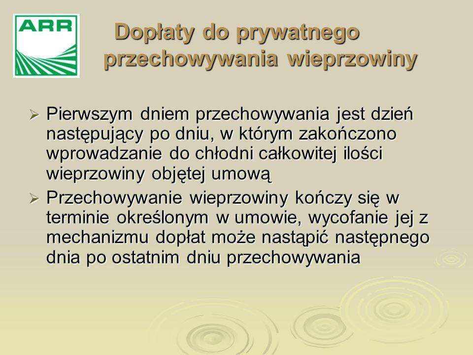 Dopłaty do prywatnego przechowywania wieprzowiny Pierwszym dniem przechowywania jest dzień następujący po dniu, w którym zakończono wprowadzanie do ch