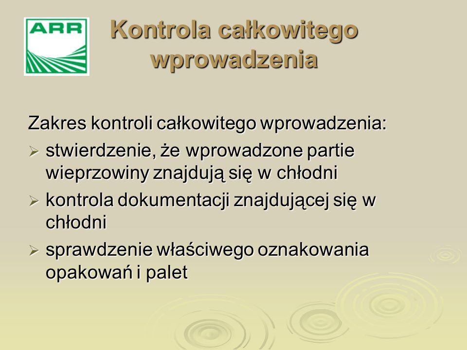 Kontrola wyrywkowa obejmuje sprawdzenie fizycznej obecności wieprzowiny w chłodni oraz prowadzonej przez chłodnię dokumentacji Kontrola wyrywkowa obejmuje sprawdzenie fizycznej obecności wieprzowiny w chłodni oraz prowadzonej przez chłodnię dokumentacji Kontrola fizyczna dotyczyć powinna co najmniej 5% ilości wieprzowiny wprowadzonej w ramach umowy Kontrola fizyczna dotyczyć powinna co najmniej 5% ilości wieprzowiny wprowadzonej w ramach umowy W przypadku stwierdzenia nieprawidłowości kontrola musi zostać rozszerzona na całą umowną ilość W przypadku stwierdzenia nieprawidłowości kontrola musi zostać rozszerzona na całą umowną ilość Kontrola wyrywkowa