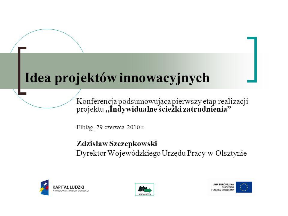 Idea projektów innowacyjnych Konferencja podsumowująca pierwszy etap realizacji projektu Indywidualne ścieżki zatrudnienia Elbląg, 29 czerwca 2010 r.