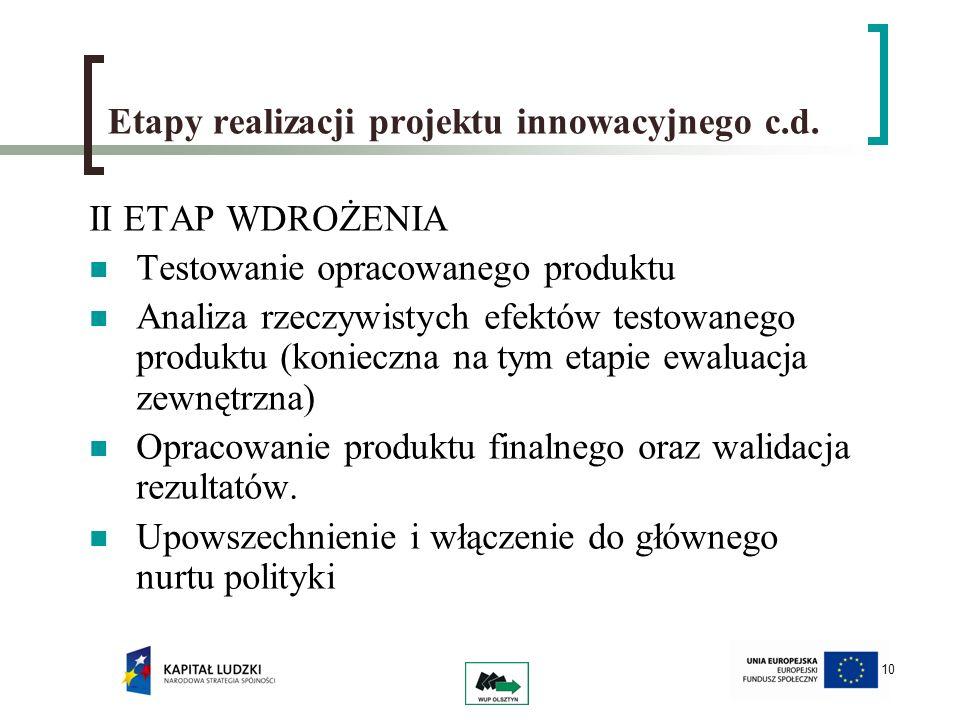 10 Etapy realizacji projektu innowacyjnego c.d. II ETAP WDROŻENIA Testowanie opracowanego produktu Analiza rzeczywistych efektów testowanego produktu