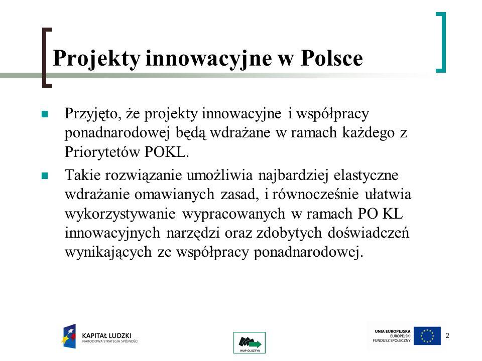2 Projekty innowacyjne w Polsce Przyjęto, że projekty innowacyjne i współpracy ponadnarodowej będą wdrażane w ramach każdego z Priorytetów POKL. Takie