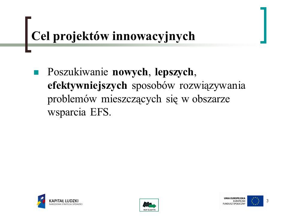 3 Cel projektów innowacyjnych Poszukiwanie nowych, lepszych, efektywniejszych sposobów rozwiązywania problemów mieszczących się w obszarze wsparcia EF