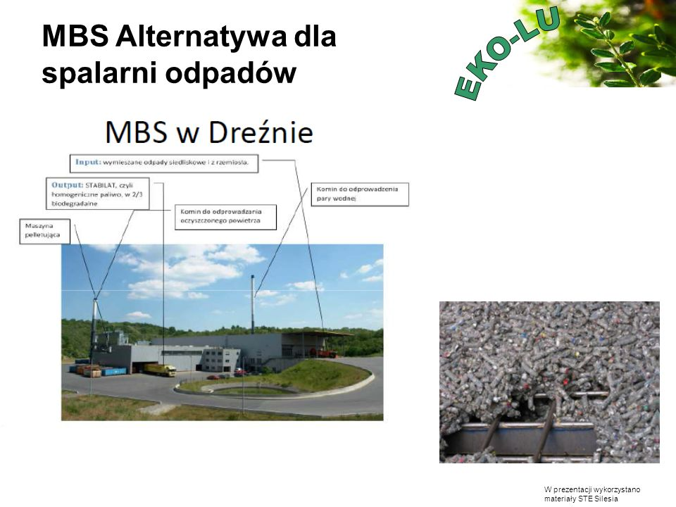 W prezentacji wykorzystano materiały STE Silesia MBS Alternatywa dla spalarni odpadów