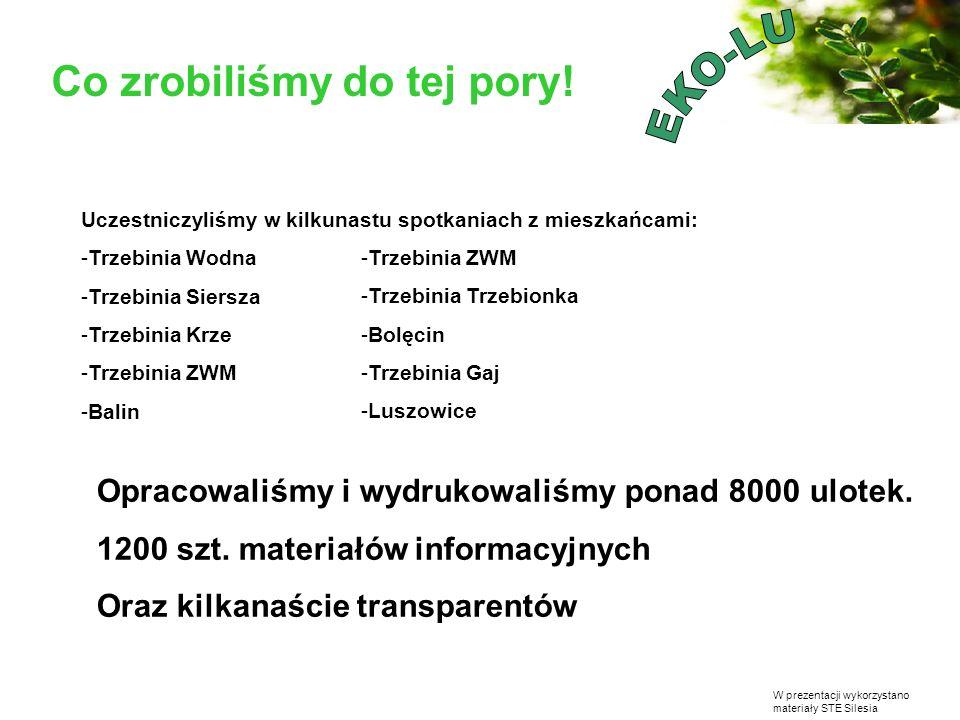 W prezentacji wykorzystano materiały STE Silesia Co zrobiliśmy do tej pory! Uczestniczyliśmy w kilkunastu spotkaniach z mieszkańcami: -Trzebinia Wodna