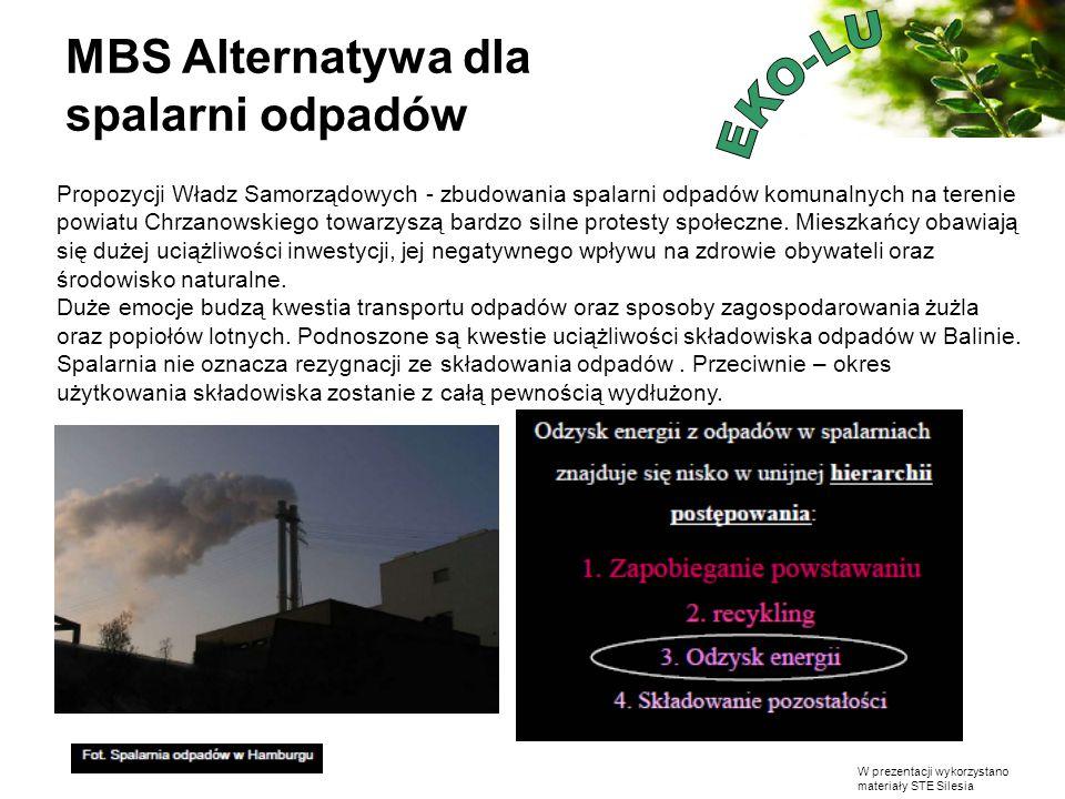 W prezentacji wykorzystano materiały STE Silesia Propozycji Władz Samorządowych - zbudowania spalarni odpadów komunalnych na terenie powiatu Chrzanows