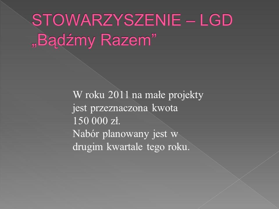 W roku 2011 na małe projekty jest przeznaczona kwota 150 000 zł. Nabór planowany jest w drugim kwartale tego roku.