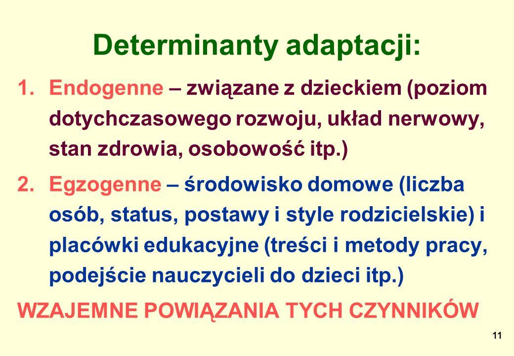 11 Determinanty adaptacji: 1.Endogenne – związane z dzieckiem (poziom dotychczasowego rozwoju, układ nerwowy, stan zdrowia, osobowość itp.) 2.Egzogenn