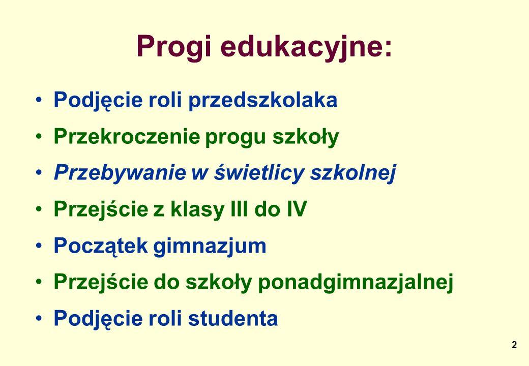 2 Progi edukacyjne: Podjęcie roli przedszkolaka Przekroczenie progu szkoły Przebywanie w świetlicy szkolnej Przejście z klasy III do IV Początek gimna