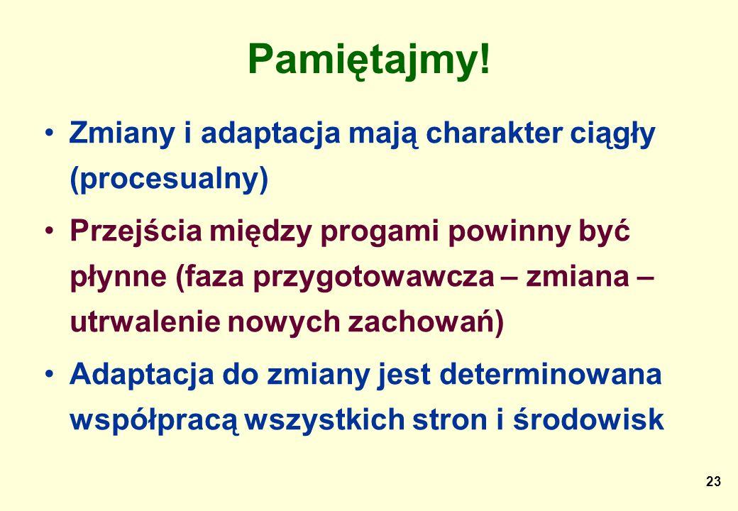 23 Pamiętajmy! Zmiany i adaptacja mają charakter ciągły (procesualny) Przejścia między progami powinny być płynne (faza przygotowawcza – zmiana – utrw