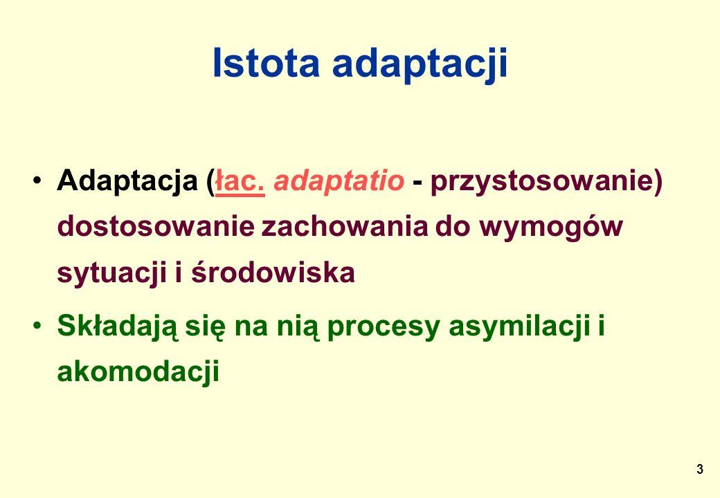 3 Istota adaptacji Adaptacja (łac. adaptatio - przystosowanie) dostosowanie zachowania do wymogów sytuacji i środowiskałac. Składają się na nią proces