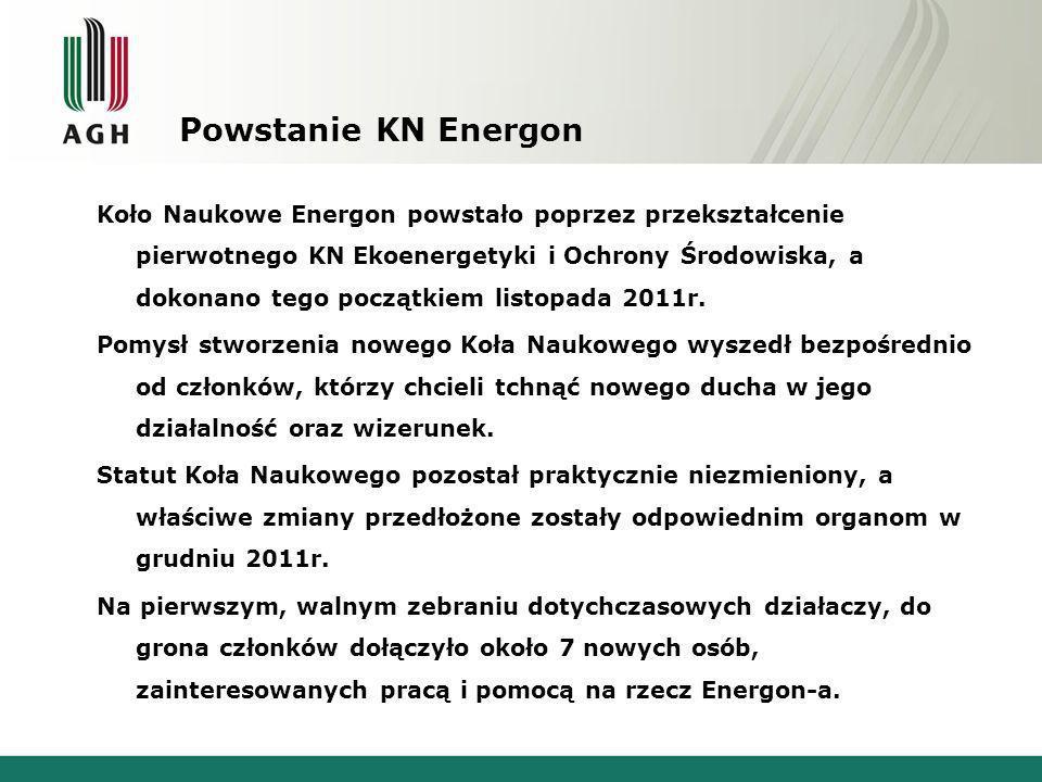Powstanie KN Energon Koło Naukowe Energon powstało poprzez przekształcenie pierwotnego KN Ekoenergetyki i Ochrony Środowiska, a dokonano tego początki