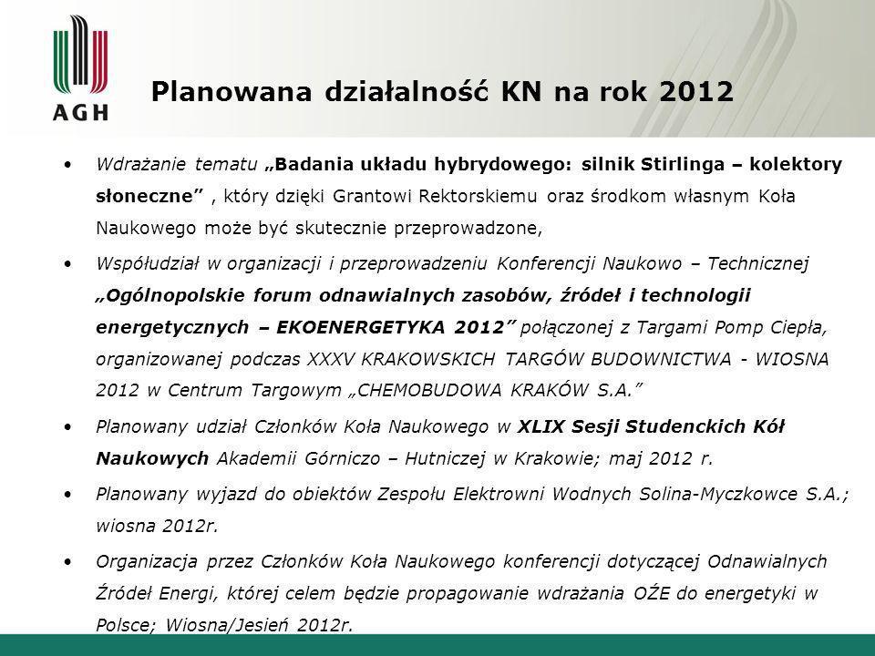 Planowana działalność KN na rok 2012 Wdrażanie tematu Badania układu hybrydowego: silnik Stirlinga – kolektory słoneczne, który dzięki Grantowi Rektor