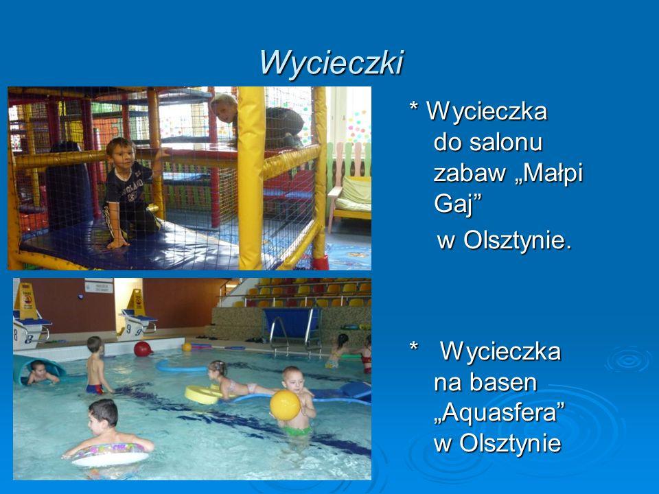 Wycieczki * Wycieczka do salonu zabaw Małpi Gaj w Olsztynie. w Olsztynie. * Wycieczka na basen Aquasfera w Olsztynie