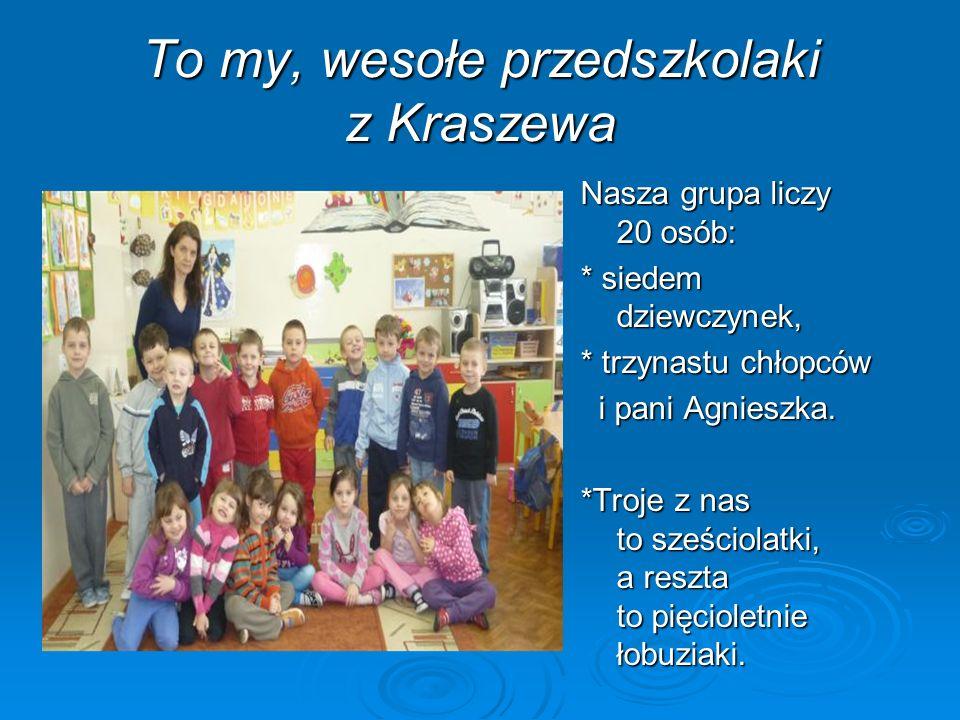 To my, wesołe przedszkolaki z Kraszewa Nasza grupa liczy 20 osób: * siedem dziewczynek, * trzynastu chłopców i pani Agnieszka. i pani Agnieszka. *Troj