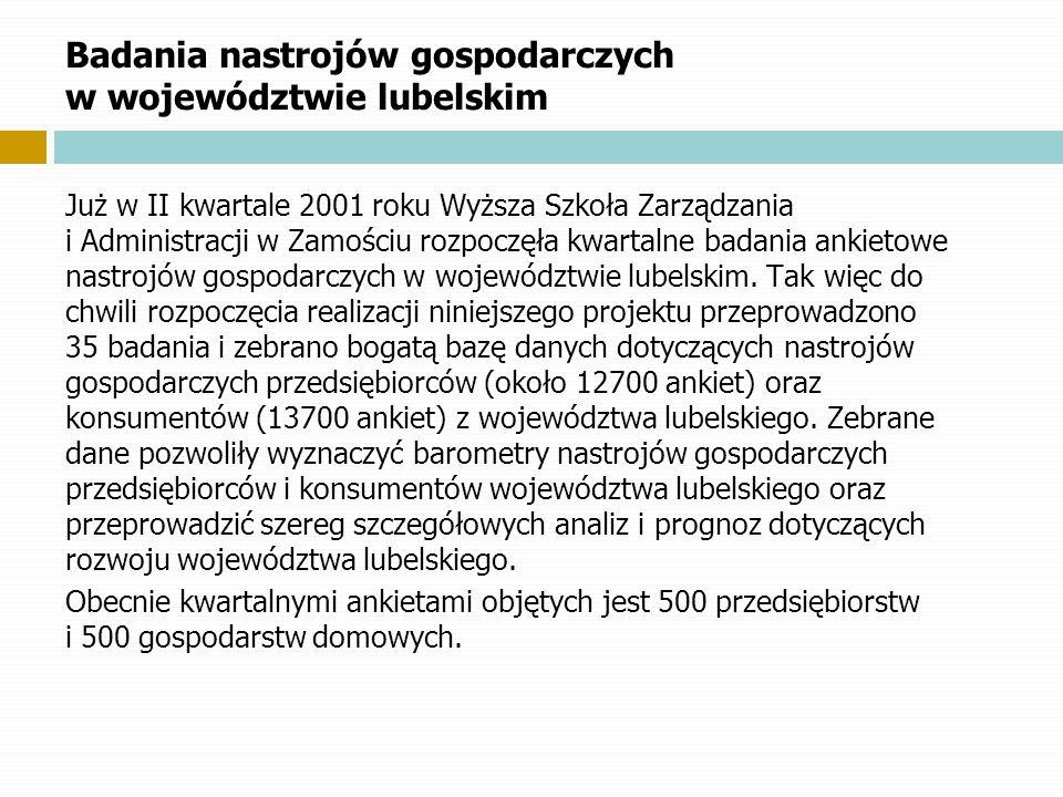 Badania nastrojów gospodarczych w województwie lubelskim Już w II kwartale 2001 roku Wyższa Szkoła Zarządzania i.Administracji w Zamościu rozpoczęła k