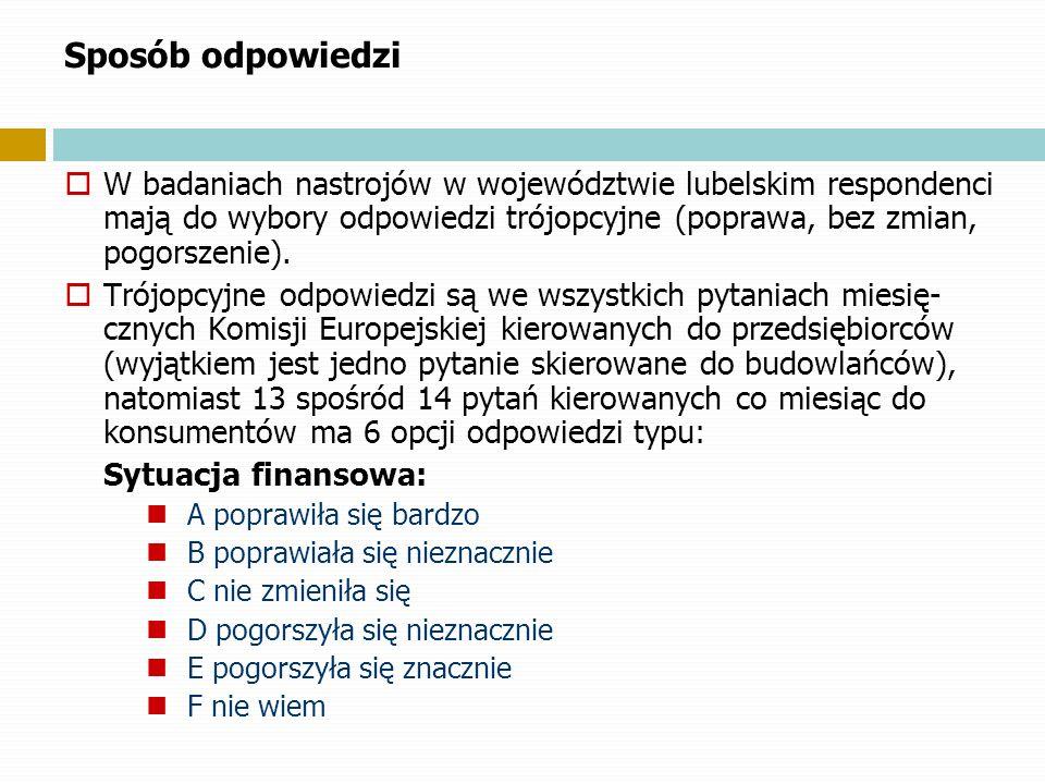 Sposób odpowiedzi W badaniach nastrojów w województwie lubelskim respondenci mają do wybory odpowiedzi trójopcyjne (poprawa, bez zmian, pogorszenie).