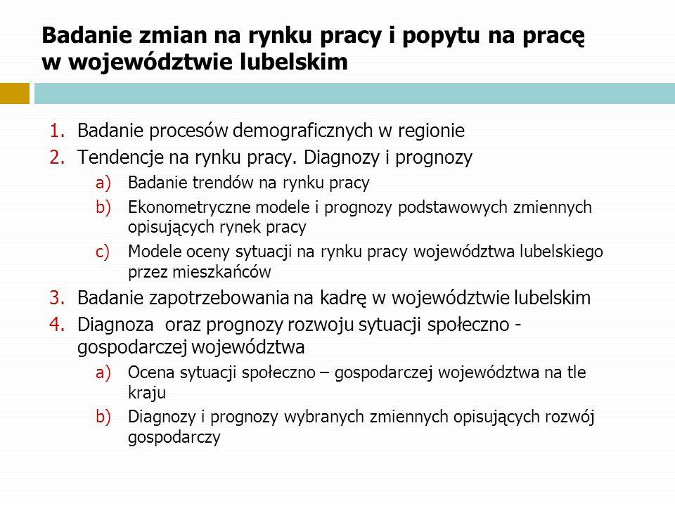 Badanie zmian na rynku pracy i popytu na pracę w województwie lubelskim 1.Badanie procesów demograficznych w regionie 2.Tendencje na rynku pracy. Diag