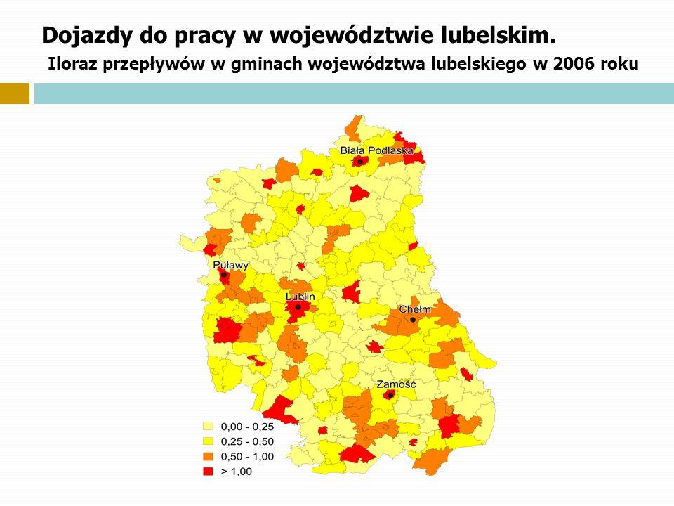 Dojazdy do pracy w województwie lubelskim. Iloraz przepływów w gminach województwa lubelskiego w 2006 roku
