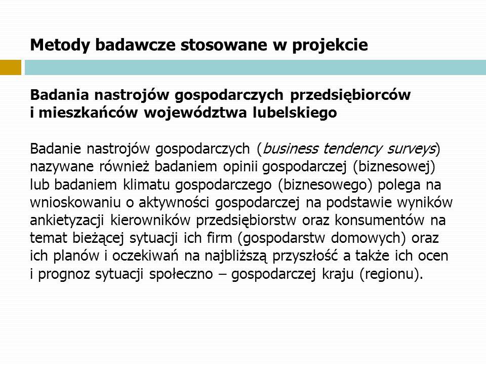 Metody badawcze stosowane w projekcie Badania nastrojów gospodarczych przedsiębiorców i mieszkańców województwa lubelskiego Badanie nastrojów gospodar