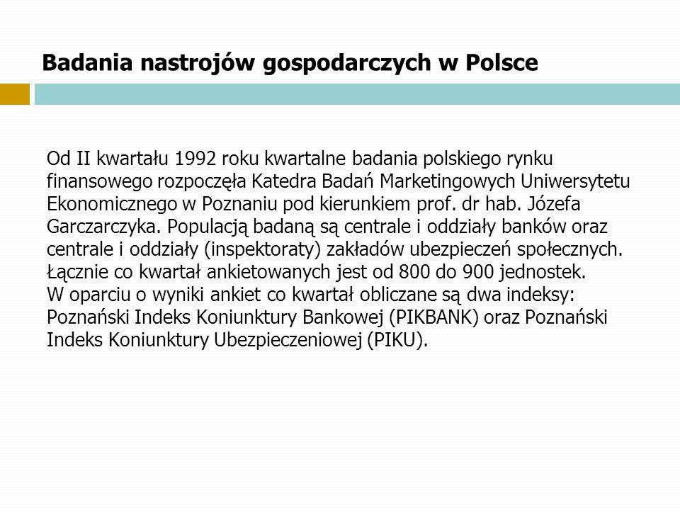 Badania nastrojów gospodarczych w Polsce Od II kwartału 1992 roku kwartalne badania polskiego rynku finansowego rozpoczęła Katedra Badań Marketingowyc