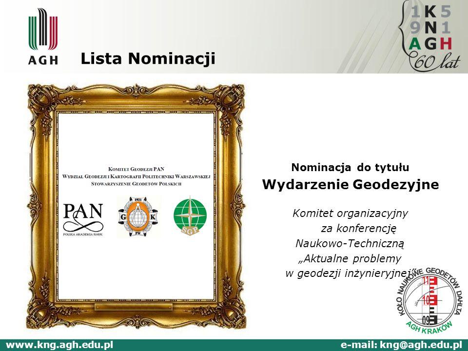 Lista Nominacji Nominacja do tytułu Wydarzenie Geodezyjne Komitet organizacyjny za konferencję Naukowo-Techniczną Aktualne problemy w geodezji inżynie