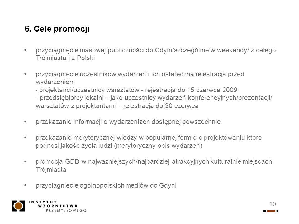 10 6. Cele promocji przyciągnięcie masowej publiczności do Gdyni/szczególnie w weekendy/ z całego Trójmiasta i z Polski przyciągnięcie uczestników wyd