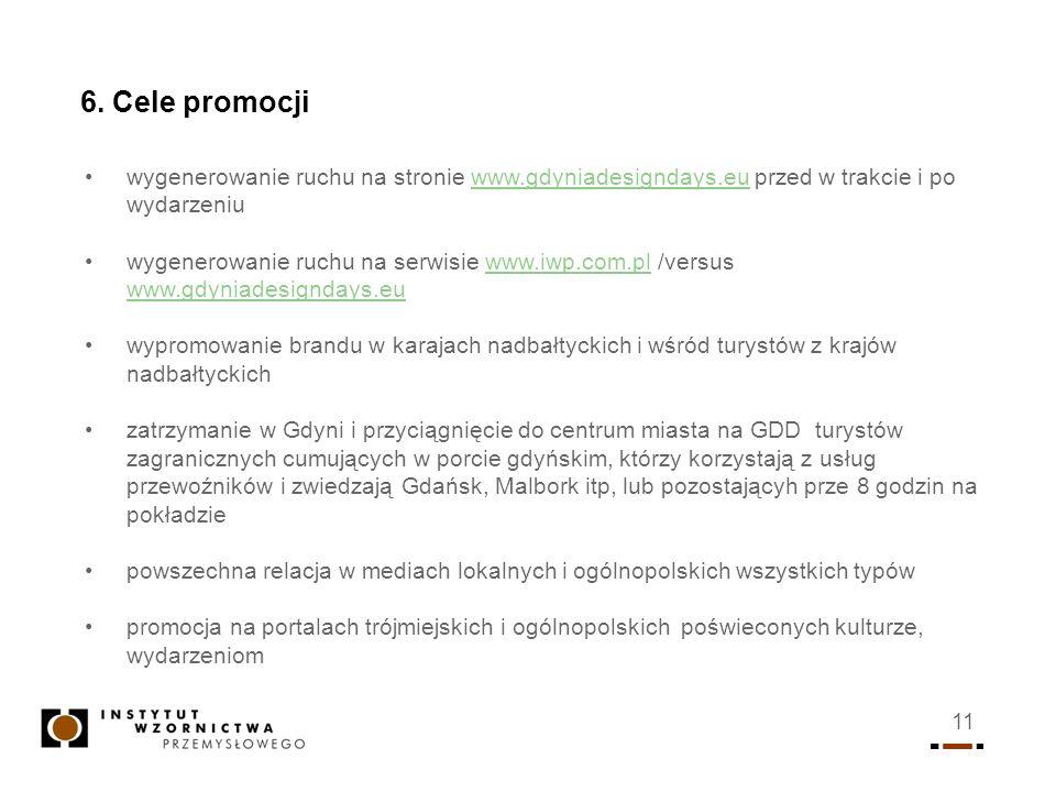 11 6. Cele promocji wygenerowanie ruchu na stronie www.gdyniadesigndays.eu przed w trakcie i po wydarzeniuwww.gdyniadesigndays.eu wygenerowanie ruchu