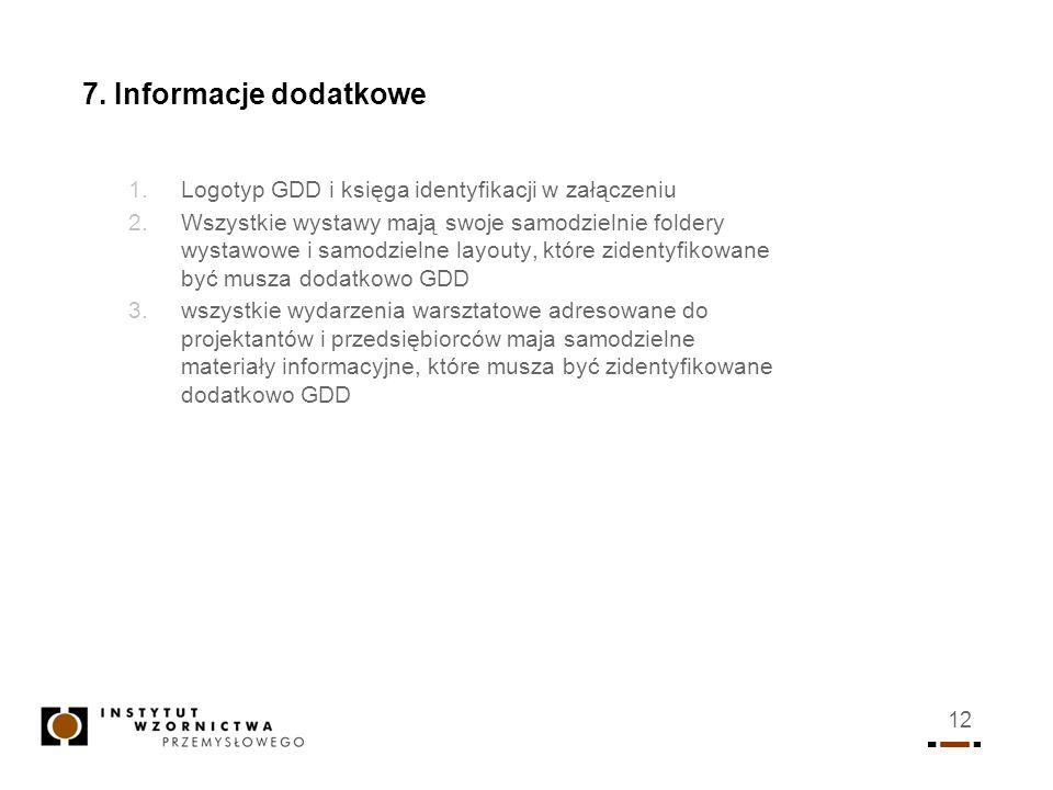 12 7. Informacje dodatkowe 1.Logotyp GDD i księga identyfikacji w załączeniu 2.Wszystkie wystawy mają swoje samodzielnie foldery wystawowe i samodziel