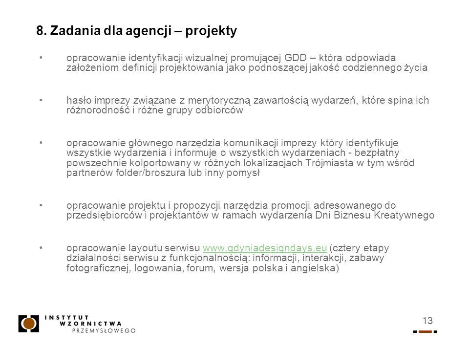 13 8. Zadania dla agencji – projekty opracowanie identyfikacji wizualnej promującej GDD – która odpowiada założeniom definicji projektowania jako podn