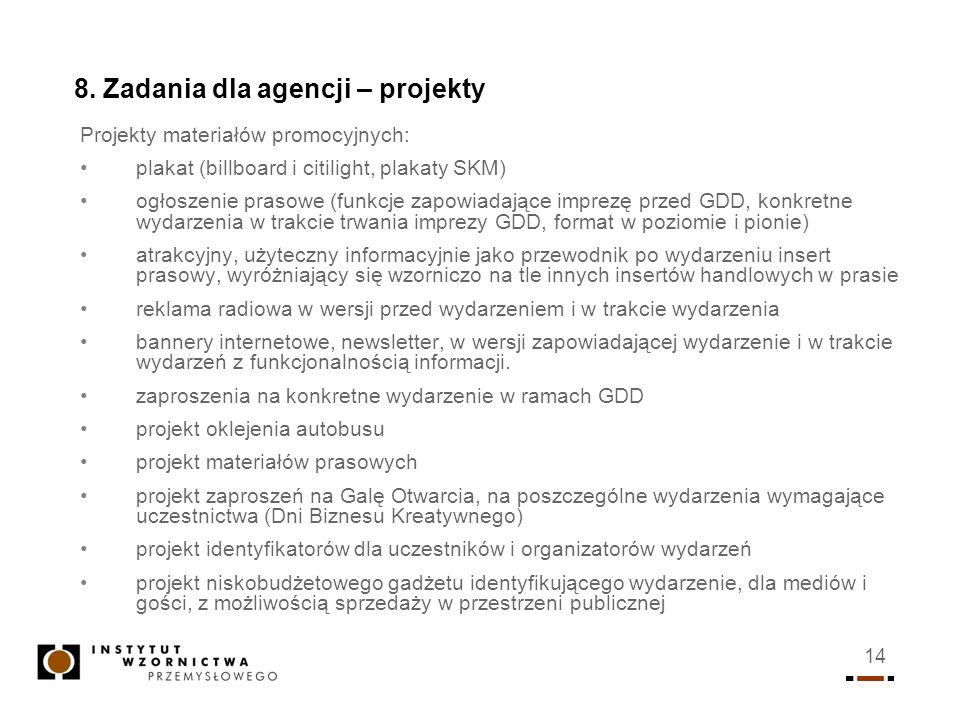 14 8. Zadania dla agencji – projekty Projekty materiałów promocyjnych: plakat (billboard i citilight, plakaty SKM) ogłoszenie prasowe (funkcje zapowia