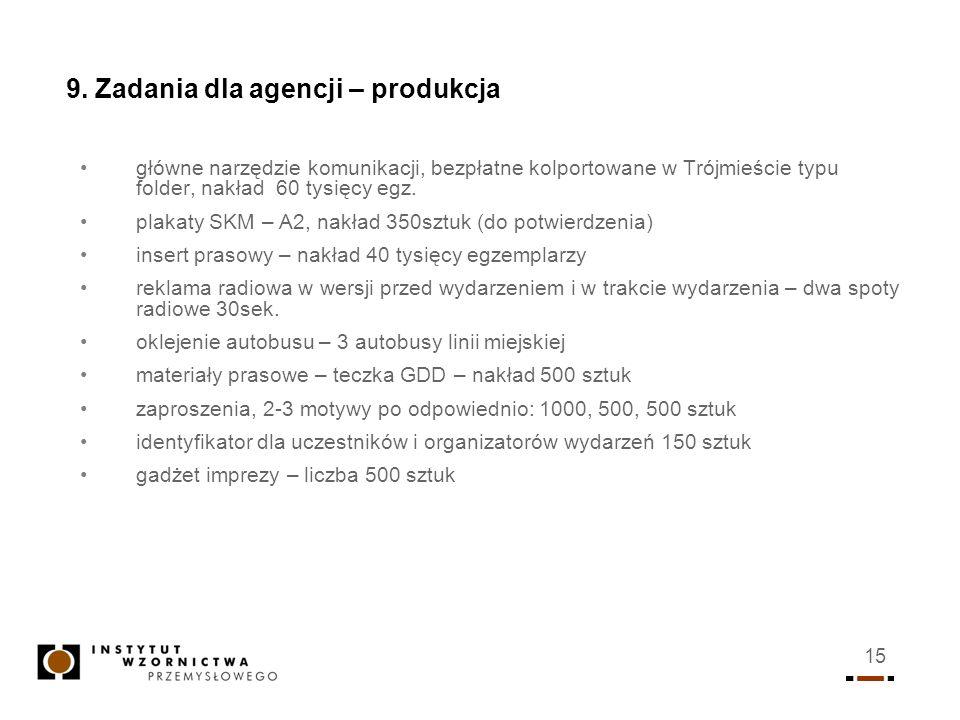 15 9. Zadania dla agencji – produkcja główne narzędzie komunikacji, bezpłatne kolportowane w Trójmieście typu folder, nakład 60 tysięcy egz. plakaty S