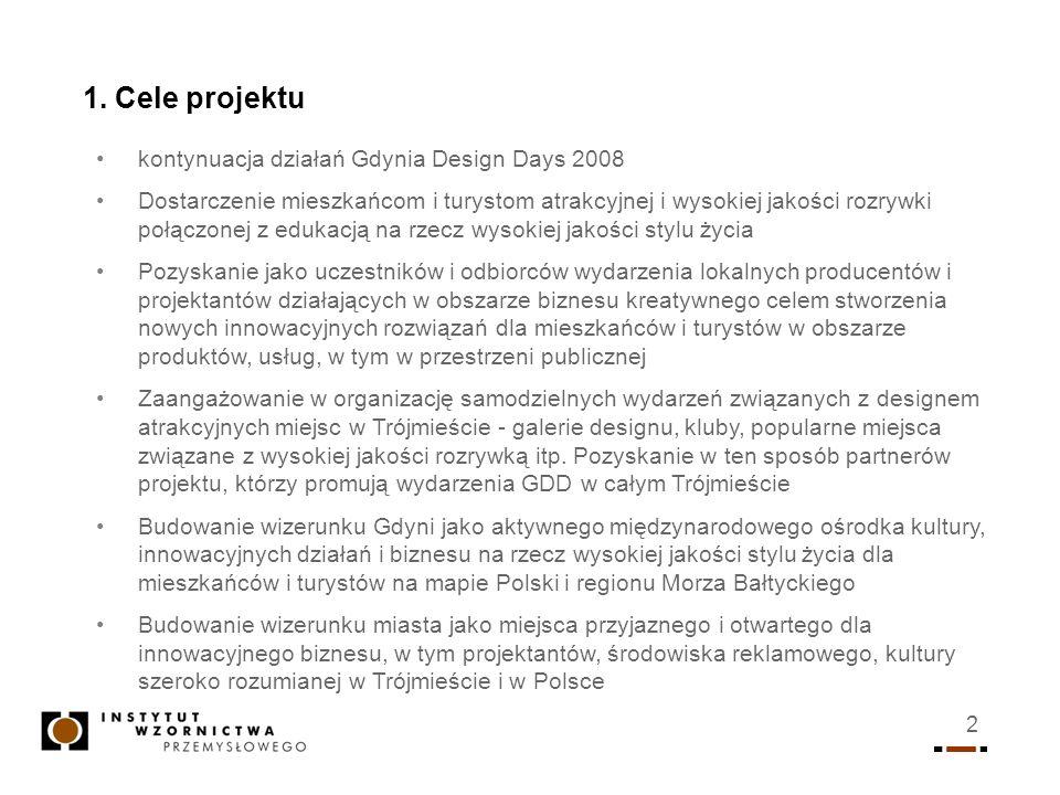 2 1. Cele projektu kontynuacja działań Gdynia Design Days 2008 Dostarczenie mieszkańcom i turystom atrakcyjnej i wysokiej jakości rozrywki połączonej