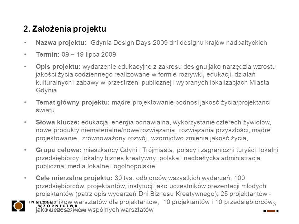 3 2. Założenia projektu Nazwa projektu: Gdynia Design Days 2009 dni designu krajów nadbałtyckich Termin: 09 – 19 lipca 2009 Opis projektu: wydarzenie