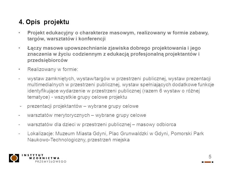 5 4. Opis projektu Projekt edukacyjny o charakterze masowym, realizowany w formie zabawy, targów, warsztatów i konferencji Łączy masowe upowszechniani