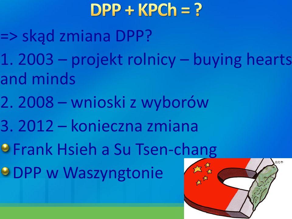 => skąd zmiana DPP? 1. 2003 – projekt rolnicy – buying hearts and minds 2. 2008 – wnioski z wyborów 3. 2012 – konieczna zmiana Frank Hsieh a Su Tsen-c