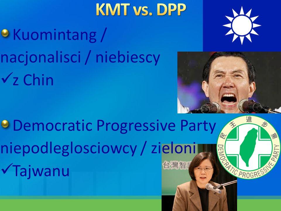 Kuomintang / nacjonalisci / niebiescy z Chin Democratic Progressive Party niepodleglosciowcy / zieloni Tajwanu