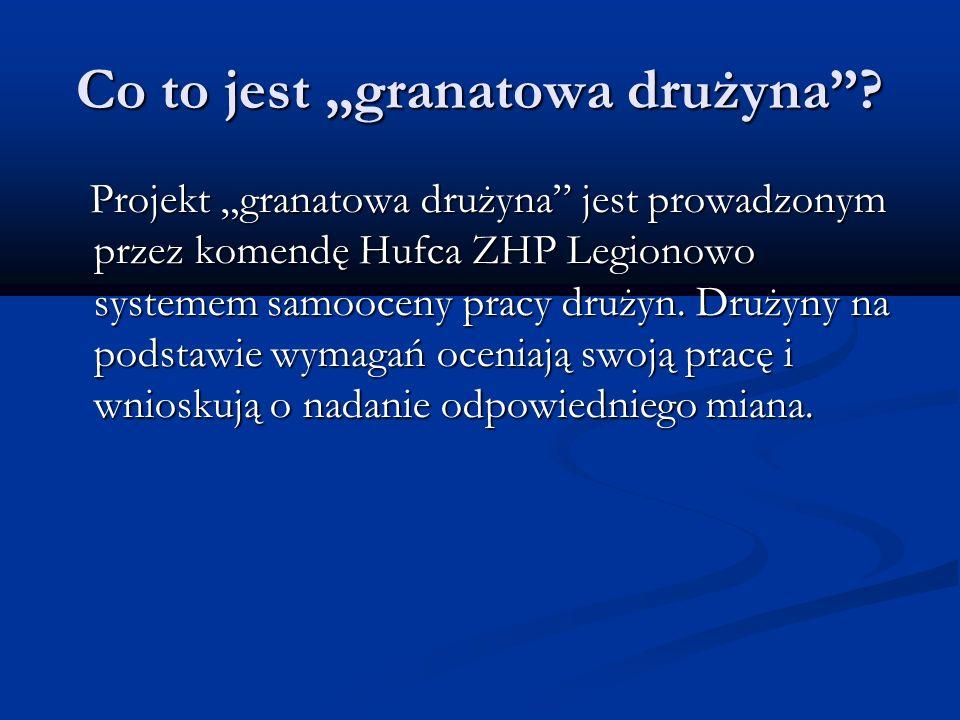 Co to jest granatowa drużyna? Projekt granatowa drużyna jest prowadzonym przez komendę Hufca ZHP Legionowo systemem samooceny pracy drużyn. Drużyny na