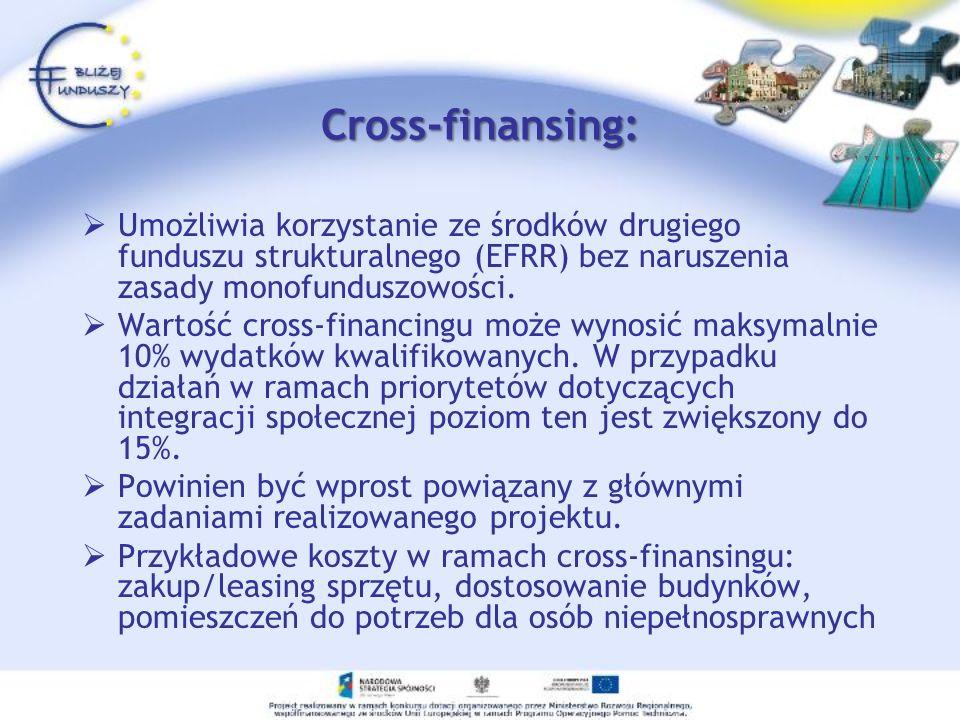 Cross-finansing: Umożliwia korzystanie ze środków drugiego funduszu strukturalnego (EFRR) bez naruszenia zasady monofunduszowości. Wartość cross-finan